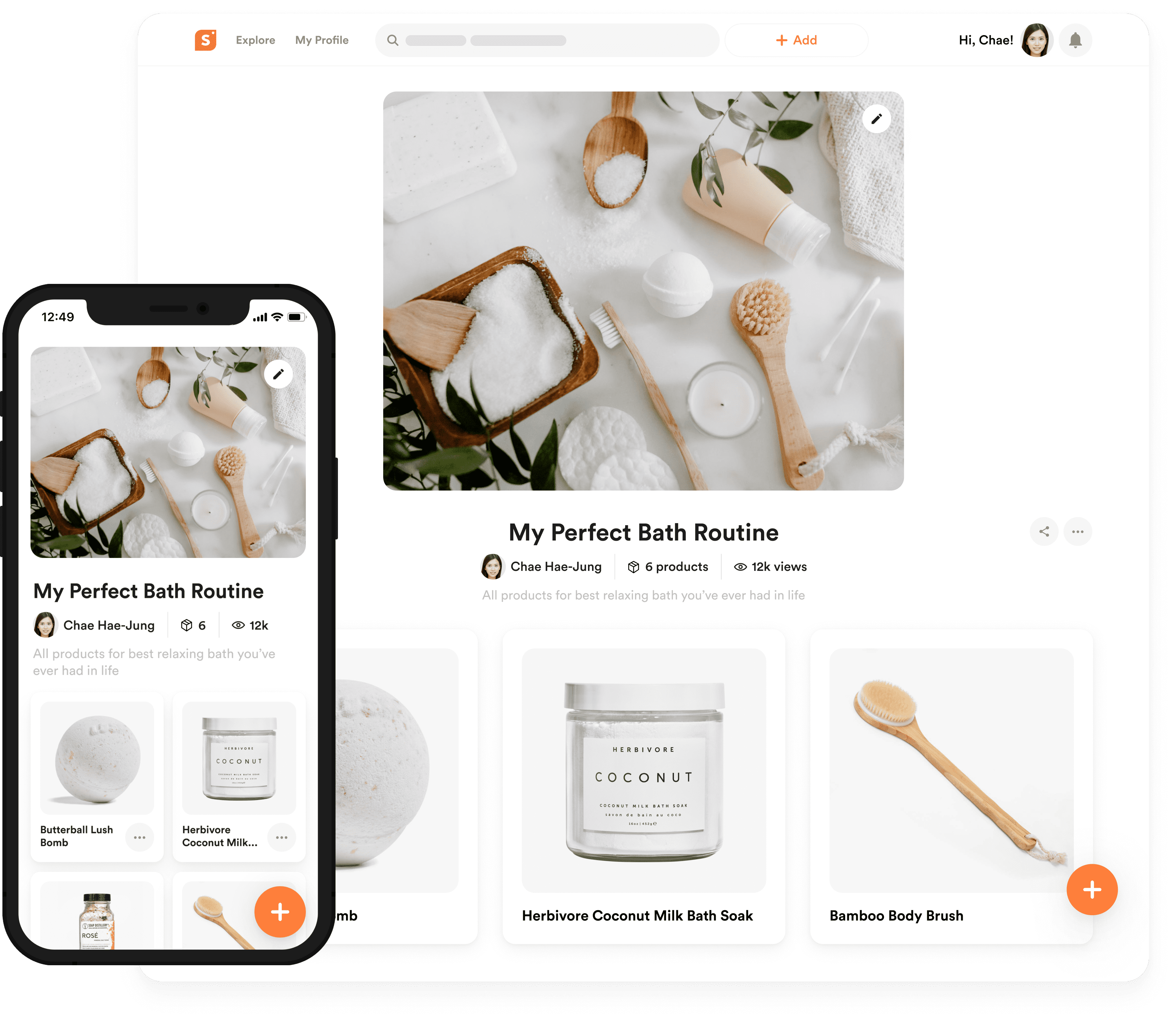 shopper.com collections page template on desktop and on mobile