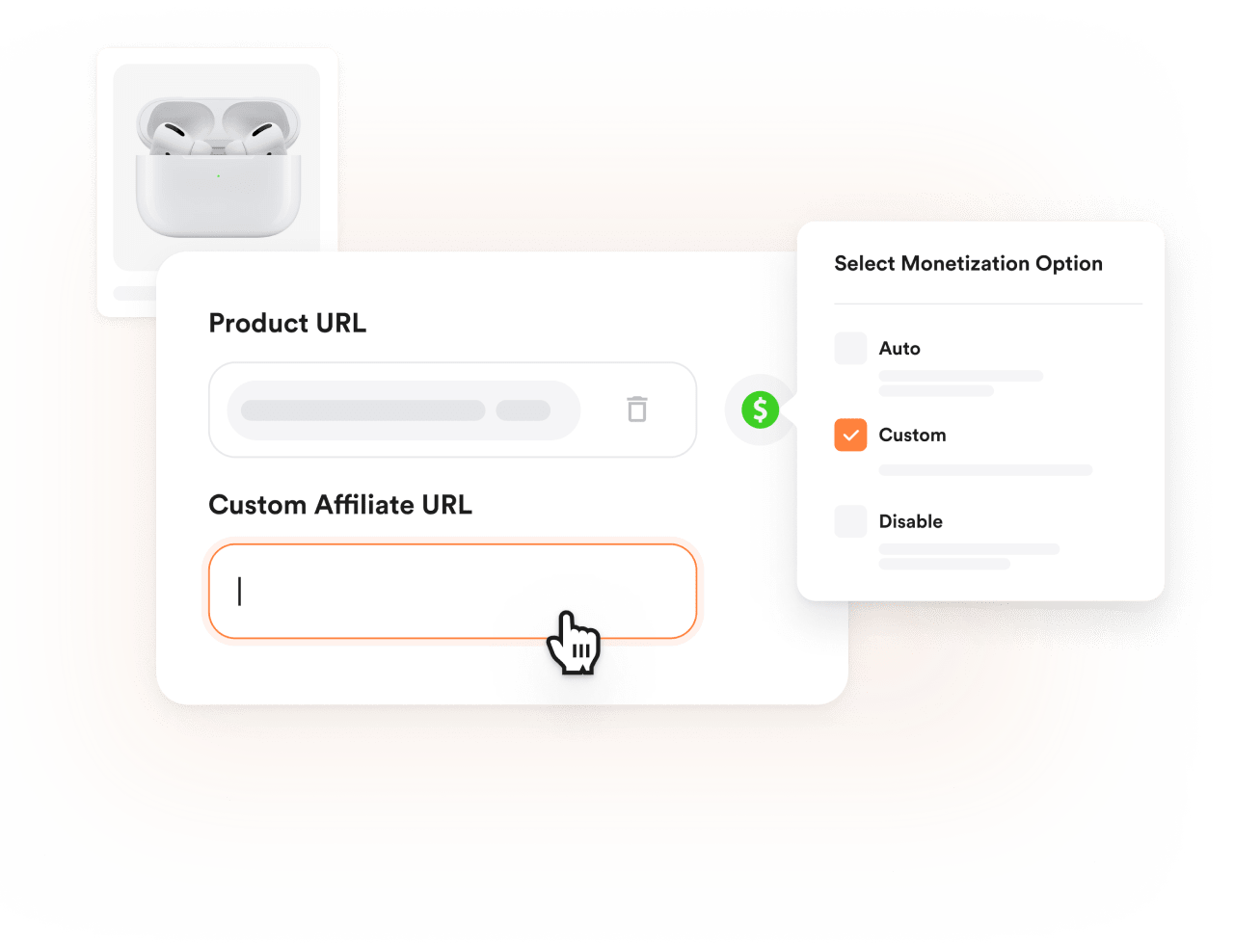 Image showing the process of adding the affiliate url