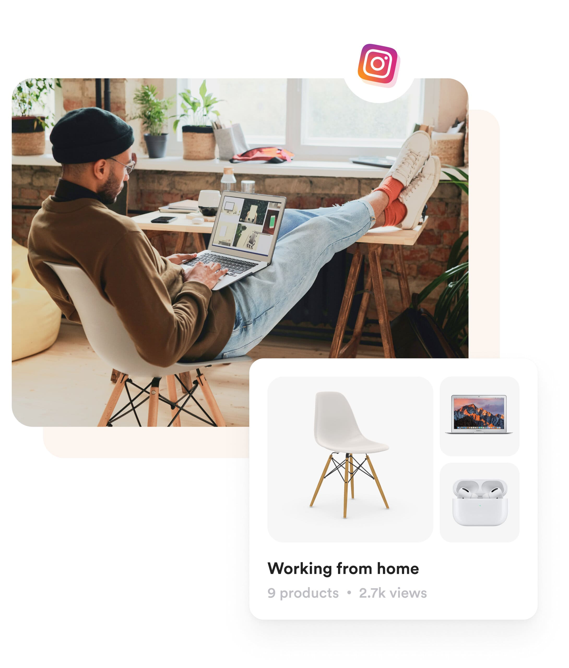 A man working from home and a shopper.com product card is showing showcasing the products used by the man in the image