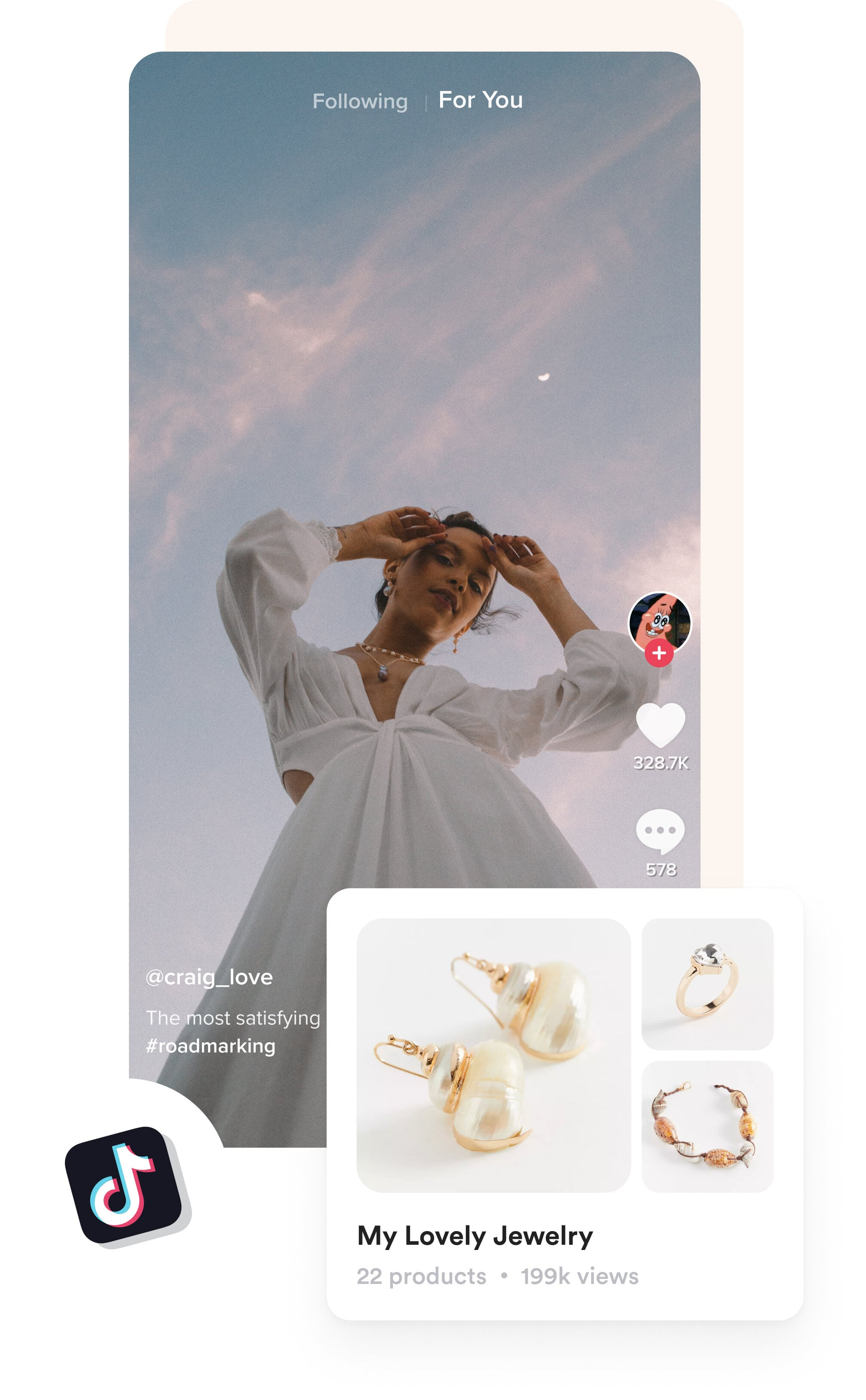 A lady in the TikTok video and the earrings she wears is showing as a shopper.com recommendation in the video