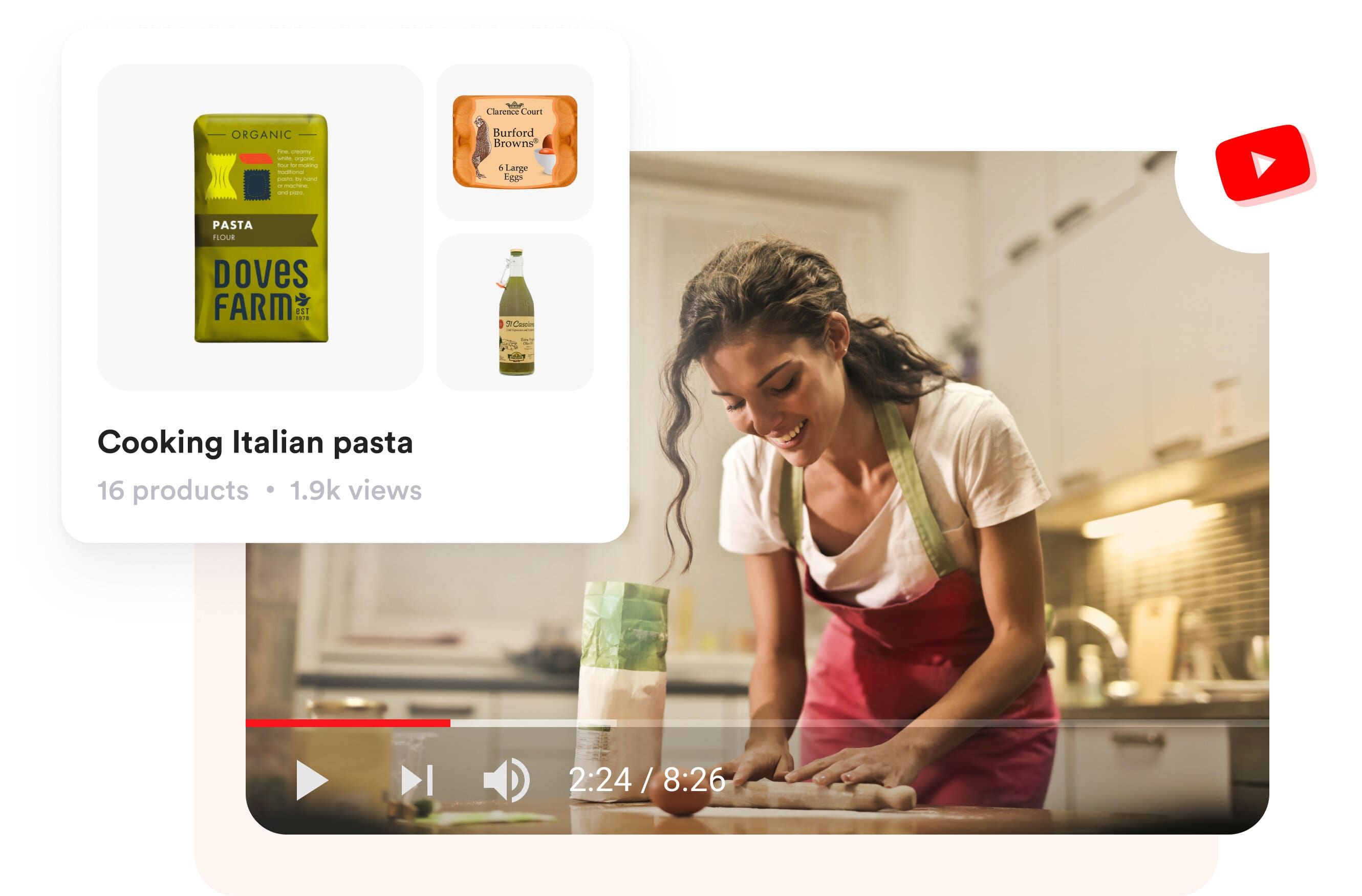 A video of a lady cooking in the youtube channel and shopper.com product recommendation is shown on the side of the image