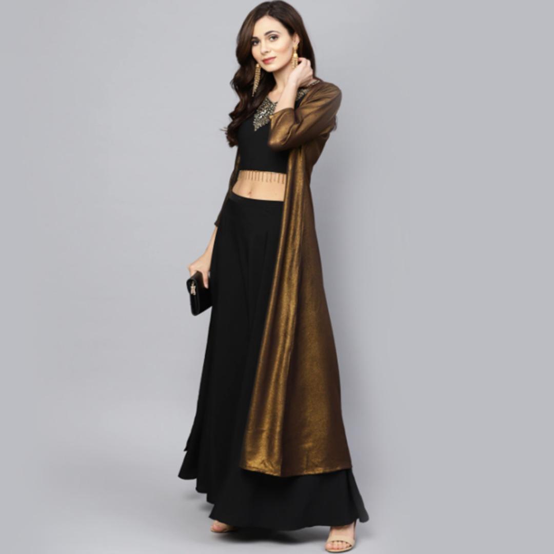 Ahalyaa Women Black & Golden Solid Top with Skirt & Ethnic Jacket