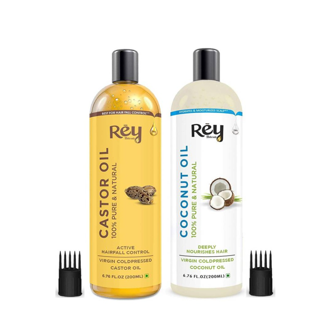 Rey Naturals Cold-Pressed, 100% Pure Castor Oil & Coconut Oil - Moisturizing & Healing, For Skin, Hair Care, Eyelashes (200 ml + 200 ml) super saver combo Hair Oil  (400 ml)