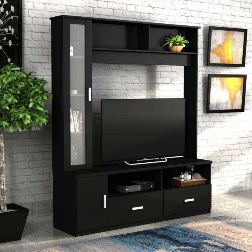 Forzza Holland Engineered Wood TV Entertainment Unit  (Finish Color - Black, Knock Down)