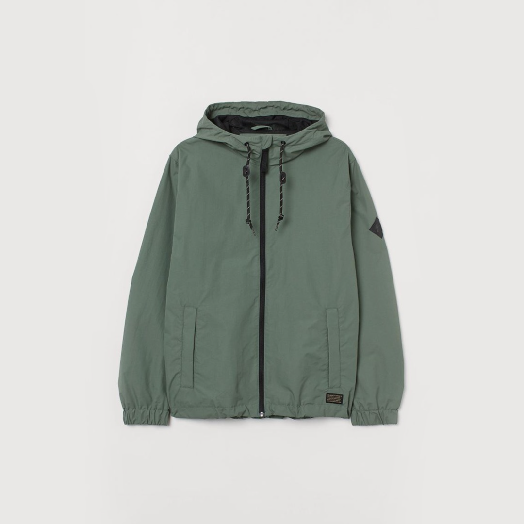 Nylon windbreaker - Grey-green - Men | H&M IN
