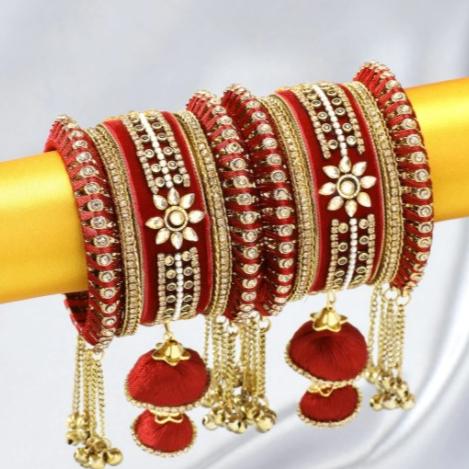 Peora Gold Plated Set Of 2 Matching Bangles Set Bridal Wedding Chuda