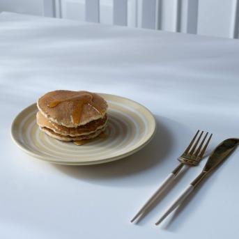 ceramic breakfast plate stripes lemon