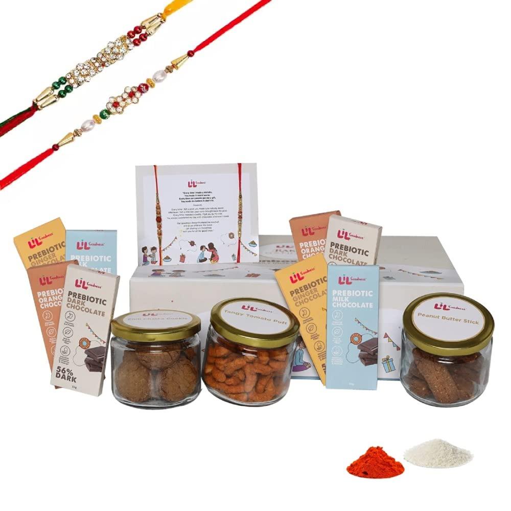 LiL'Goodness Premium Rakhi Gift Hamper | Rakshabandhan Gift Box - 2 Rakhis with 8 Chocolates (35g), Personalised Card, 1 Chili Chatka Cookie, 1 Peanut Butter Stick, 1 Teff Puff, Roli Kit : Amazon.in: Grocery & Gourmet Foods
