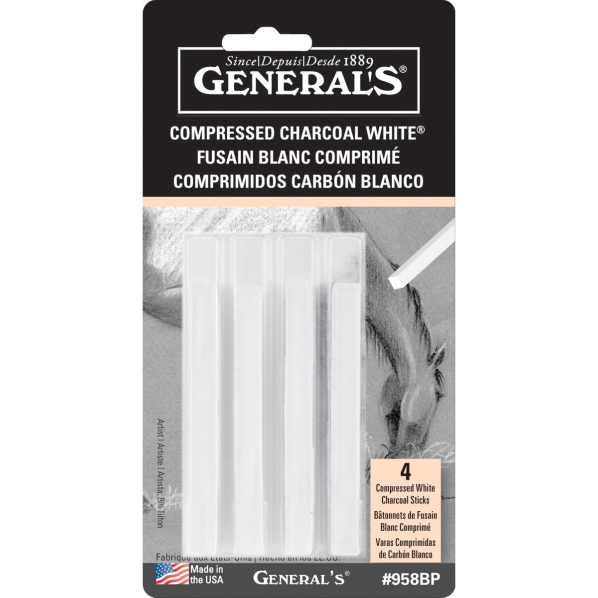 General Pencil Compressed Charcoal Soft Assorted Sticks, White -4 Pieces