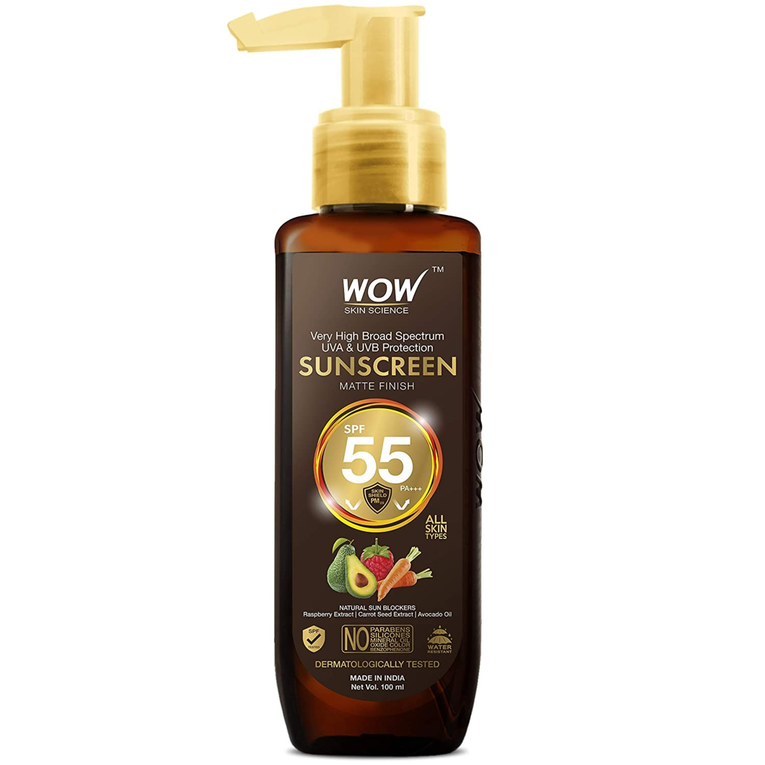 WOW Skin Science Sunscreen Matte Finish - Spf 55 Pa+++ - Very High Broad Spectrum - Uva &Uvb Protection - Quick Absorb - No Parabens, Silicones, Mineral Oil, Oxide, Color & Benzophenone, 100mL : Amazon.in: Beauty