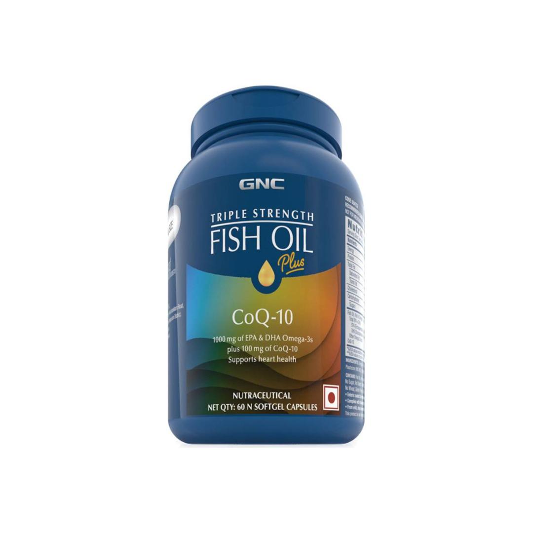GNC Triple Strength Fish Oil + CoQ10 1000 mg of EPA/DHA Omega 3s, 100 mg of CoQ10  (160 g)
