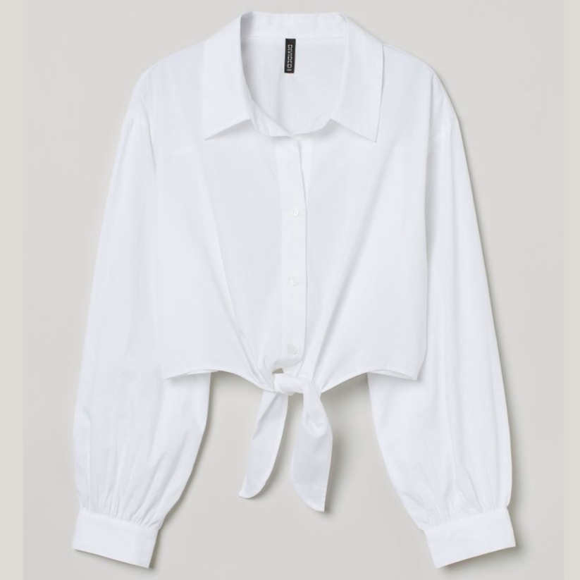 Tie-hem cotton shirt - White - Ladies | H&M GB