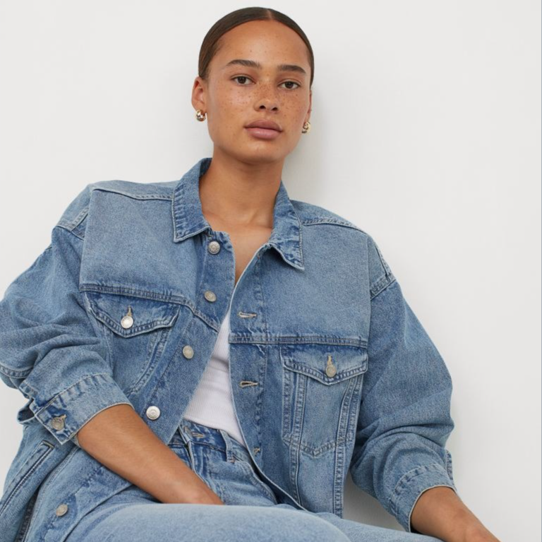 Oversized denim jacket - Denim blue - Ladies | H&M IN