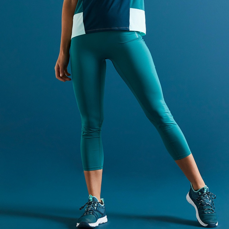 Domyos By Decathlon Women Teal Blue Solid Fitness High-Waisted Shaping Cropped Leggings