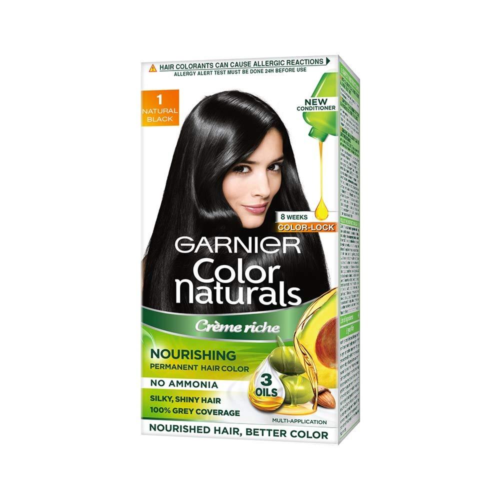 Garnier Color Naturals Crème hair color, Shade 1 Natural Black, 70ml + 60g