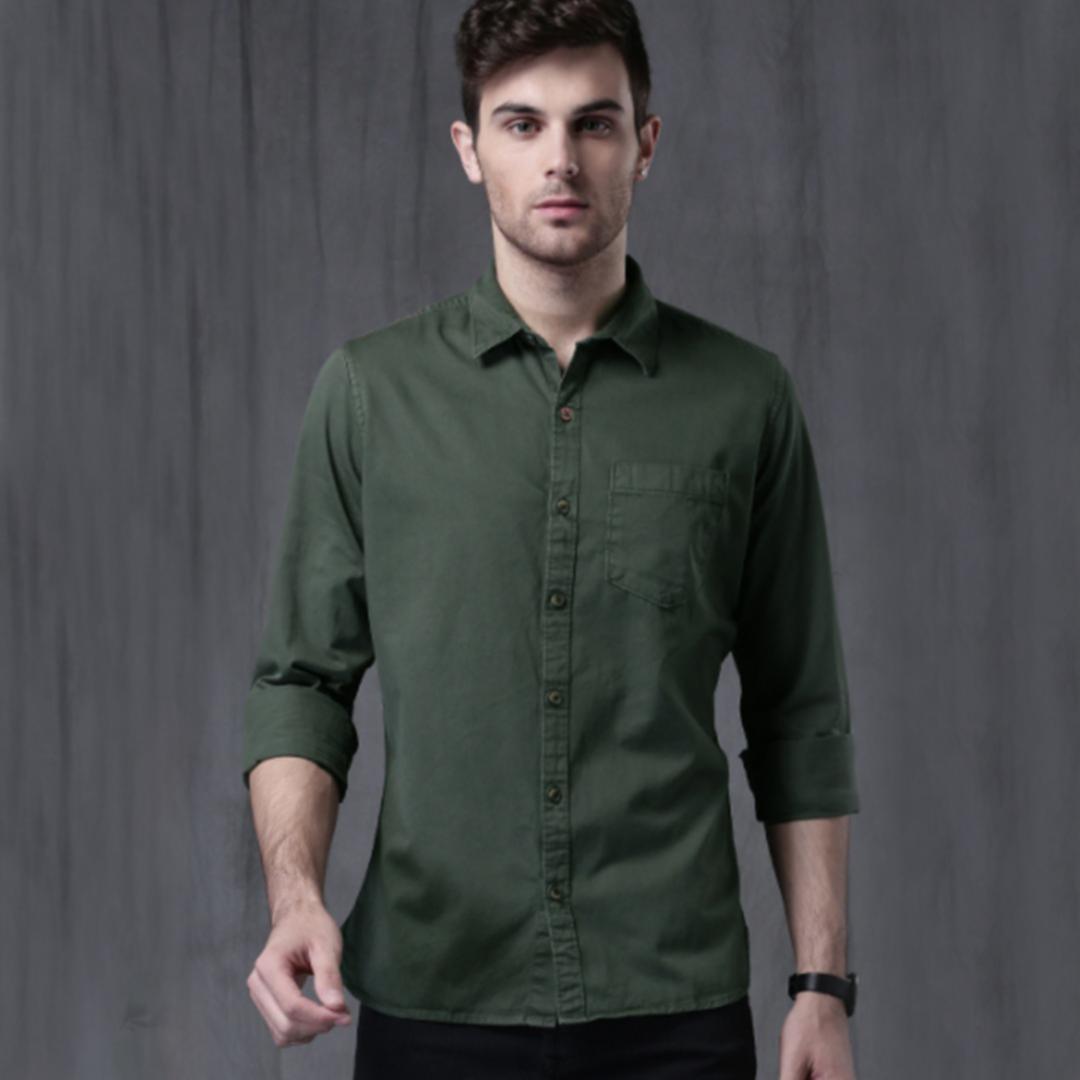 WROGN Men Green Slim Fit Solid Casual Shirt