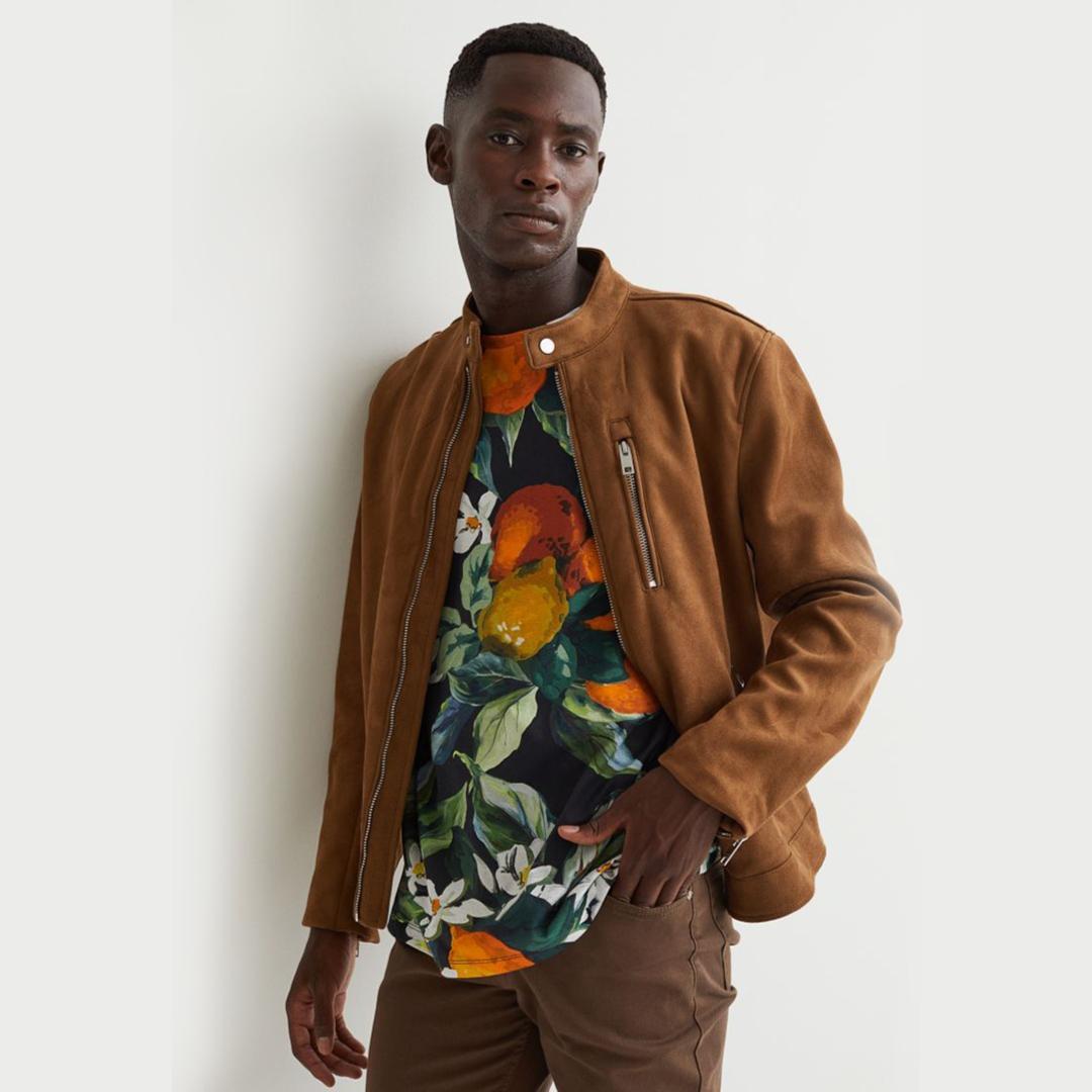 Cotton T-shirt - Black/Oranges - Men | H&M IN