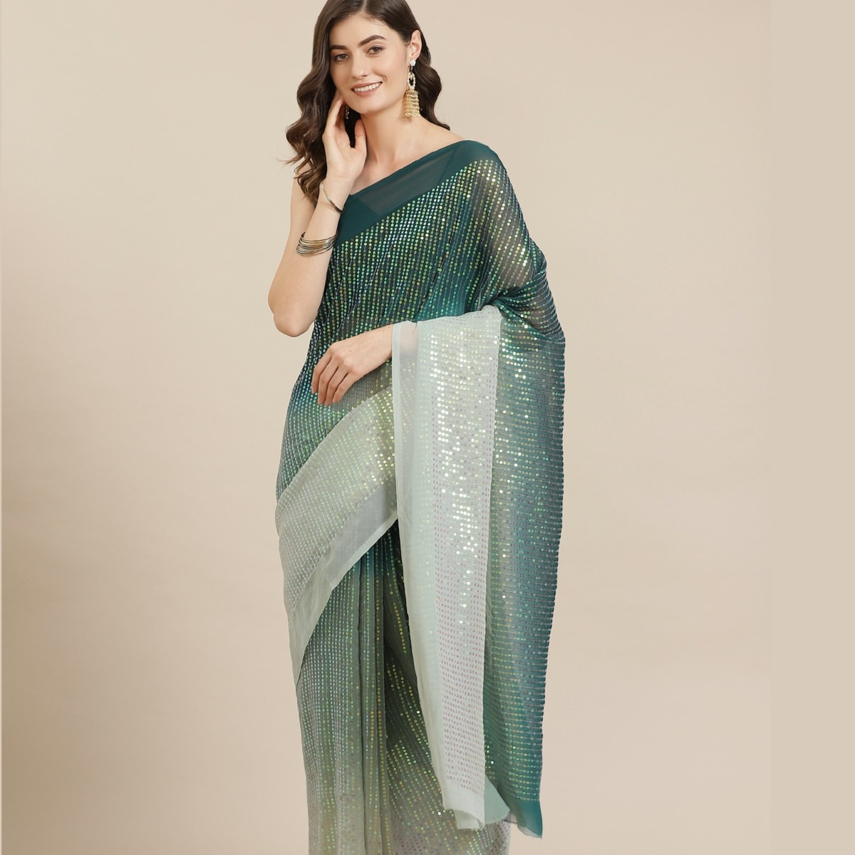NEW Kalista Green Dyed Sequinned Saree