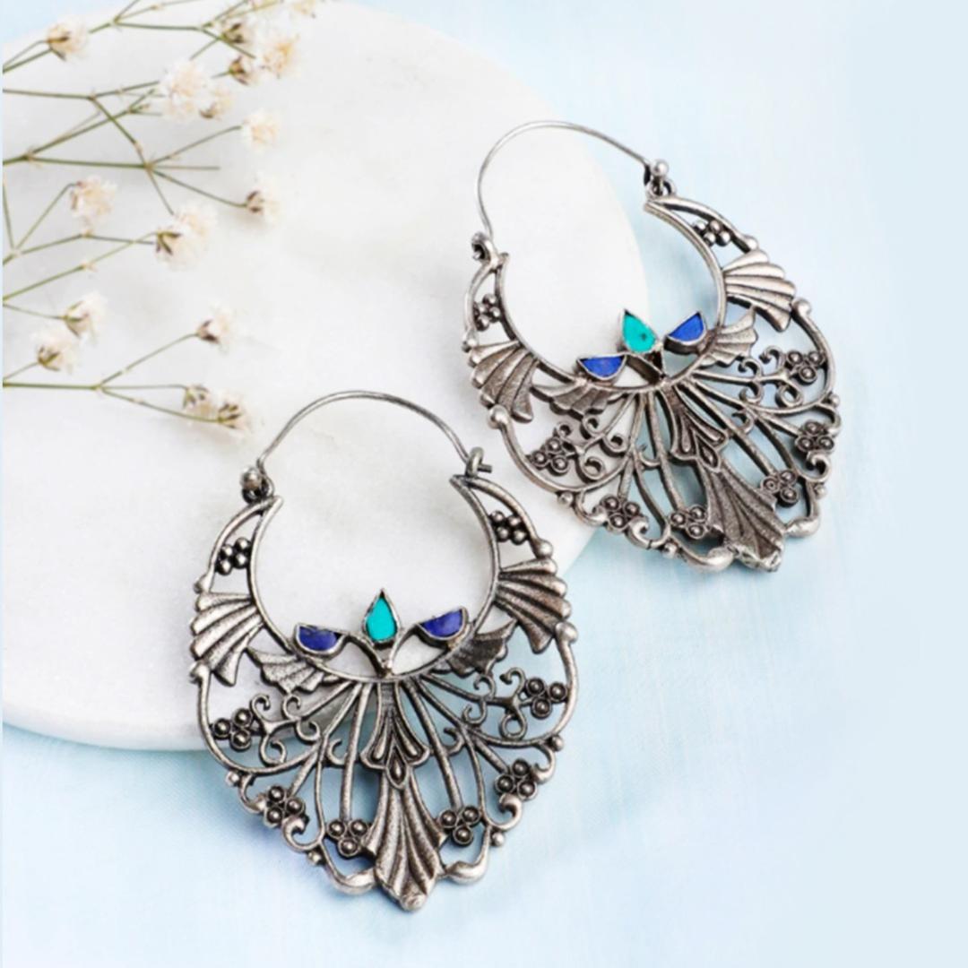 Silver Ethnic Dangler Earrings