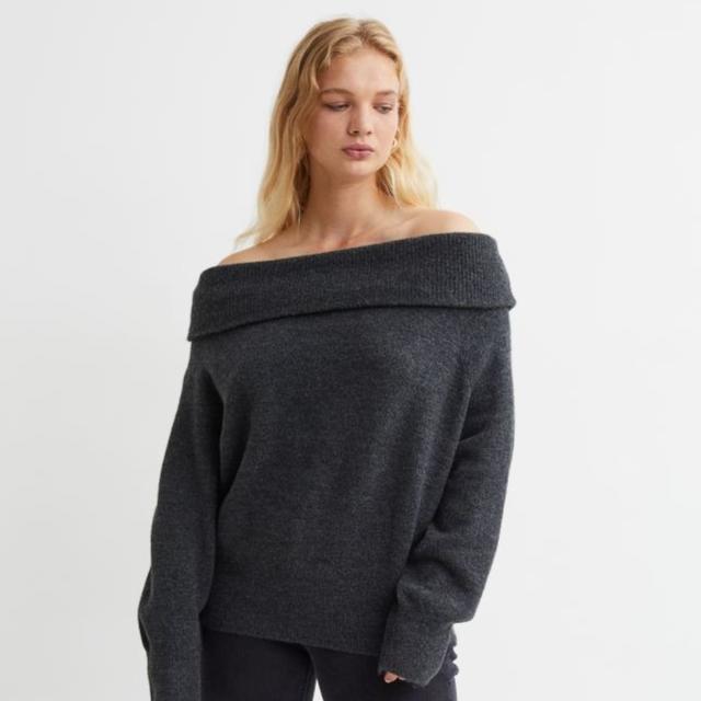 Off-the-shoulder jumper - Black marl - Ladies | H&M IN