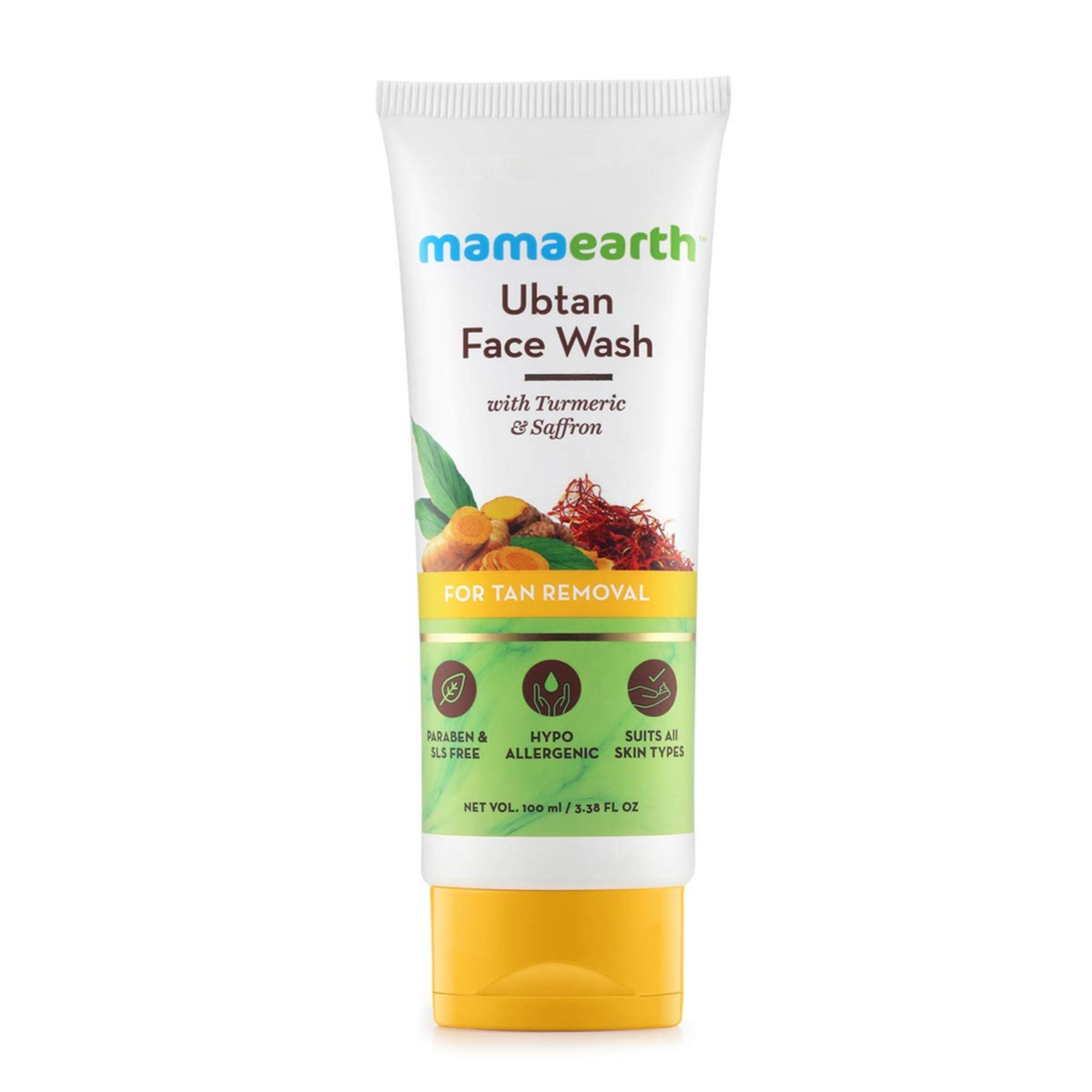 Mamaearth Ubtan Natural Face Wash for All Skin Type with Turmeric & Saffron for Tan removal and Skin brightning 100 ml - SLS & Paraben Free : Amazon.in: Beauty