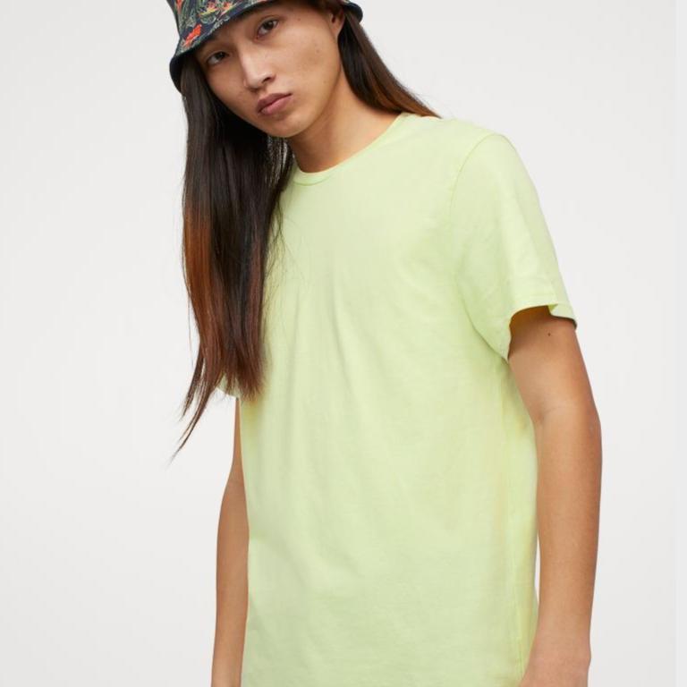 Round-neck T-shirt Regular Fit - Neon green - Men | H&M IN