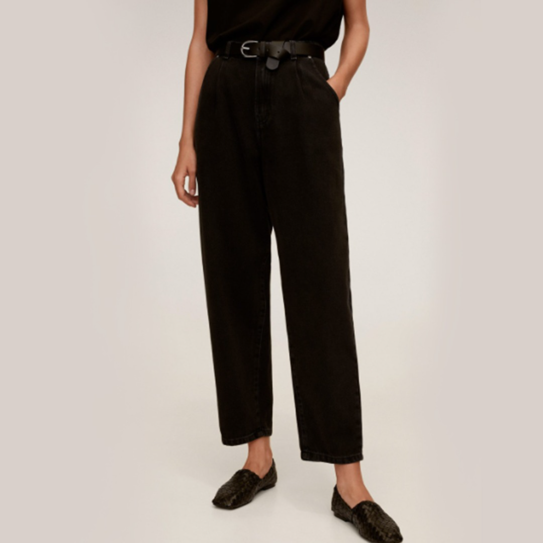 Women Black Slouchy Fit High-Rise Clean Look Cropped Jeans