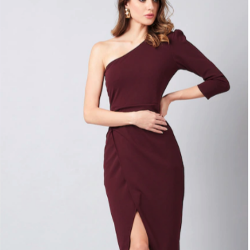 Women Burgundy Solid Wrap Dress