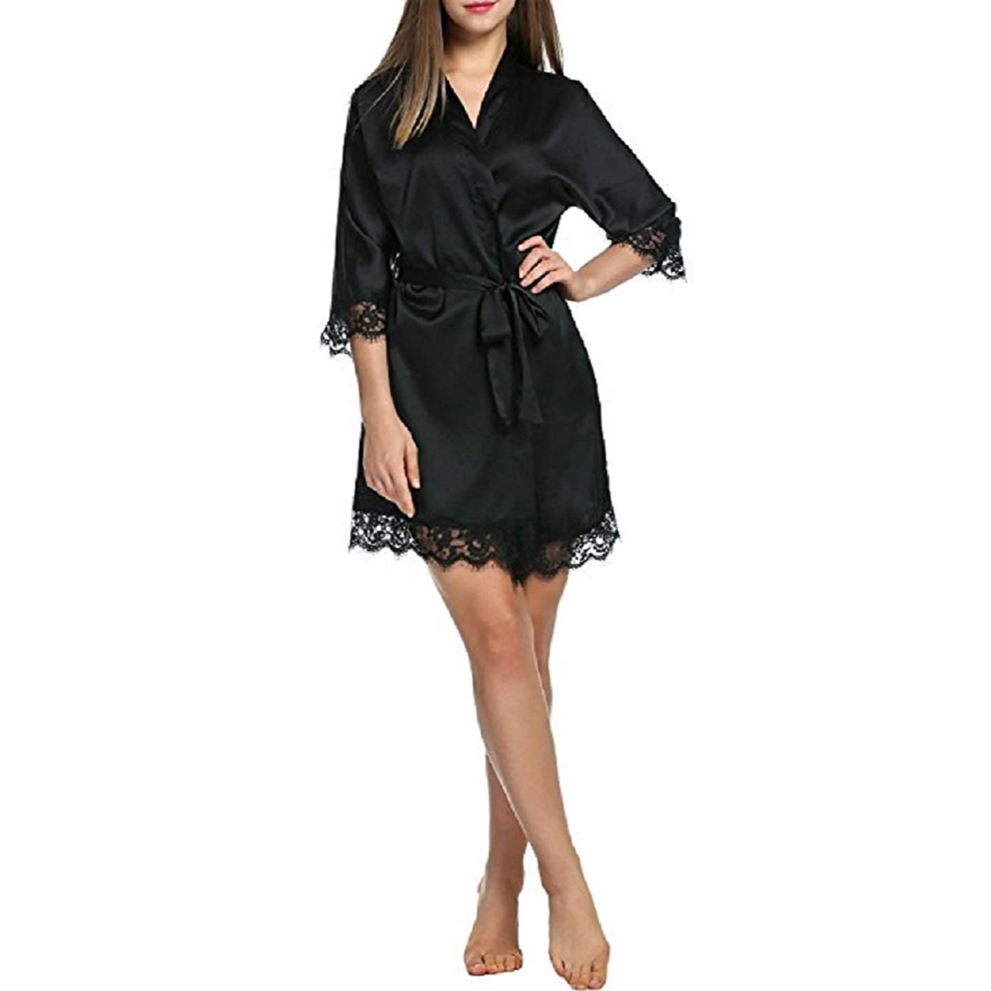 Buy ELEVANTO Women's Satin Mid Thigh Length Night Robe (Sole83, Black) at Amazon.in