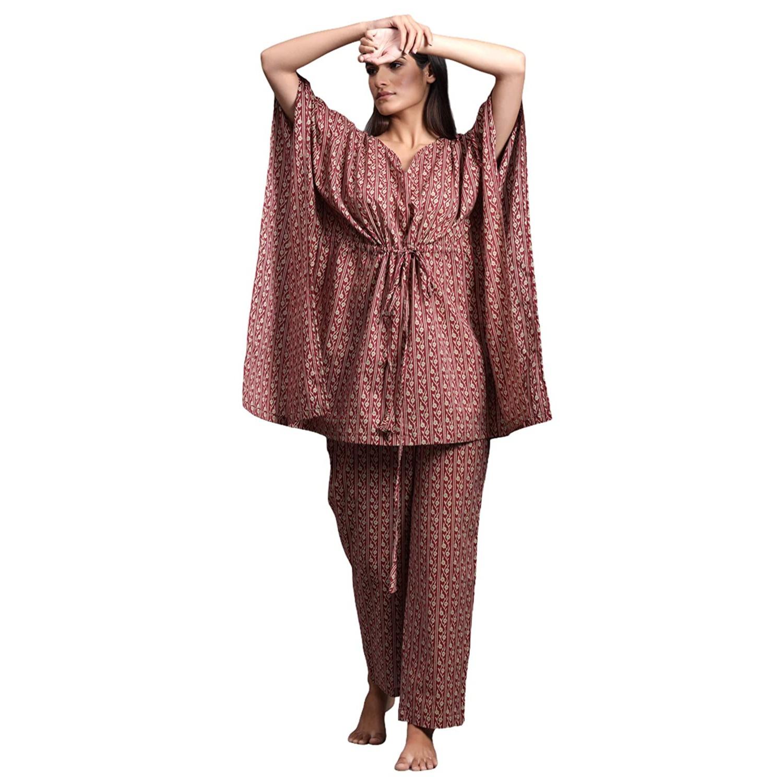 Buy JISORA Women's Printed Cotton Kaftan Top Pyjama Night Suit Set at Amazon.in