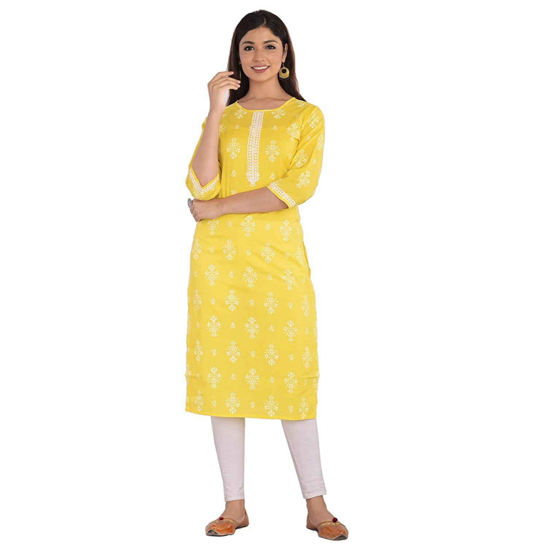 JAIPUR ATTIRE Women's Cotton Floral Pattern Round Neck Knee Length Kurta