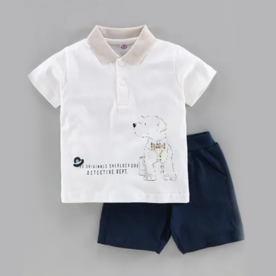 Buy Zero Half Sleeves T-Shirt & Shorts Set - Blue Off White for Boys (12-18 Months) Online in India, Shop at FirstCry.com - 8522317