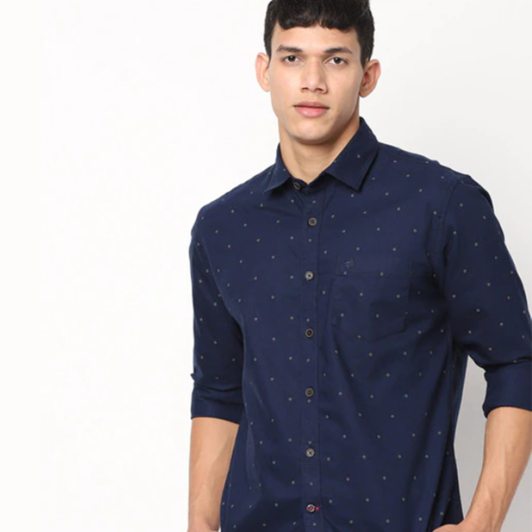 Micro Print Slim Fit Shirt with Patch Pocket