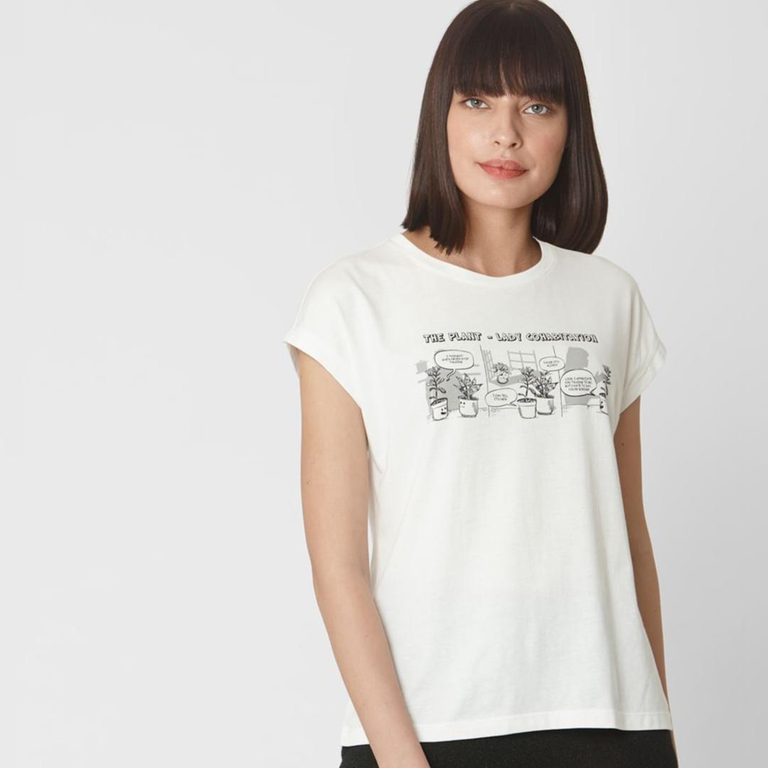 Snow White Plant Lady Text Print T-shirt