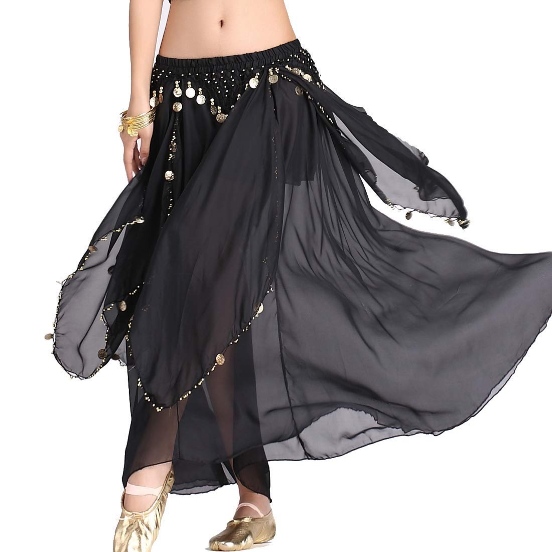 The Dance Bible Belly Dance Coin Chiffon Skirt for Girls and Women (Black) : Amazon.in: Clothing & Accessories