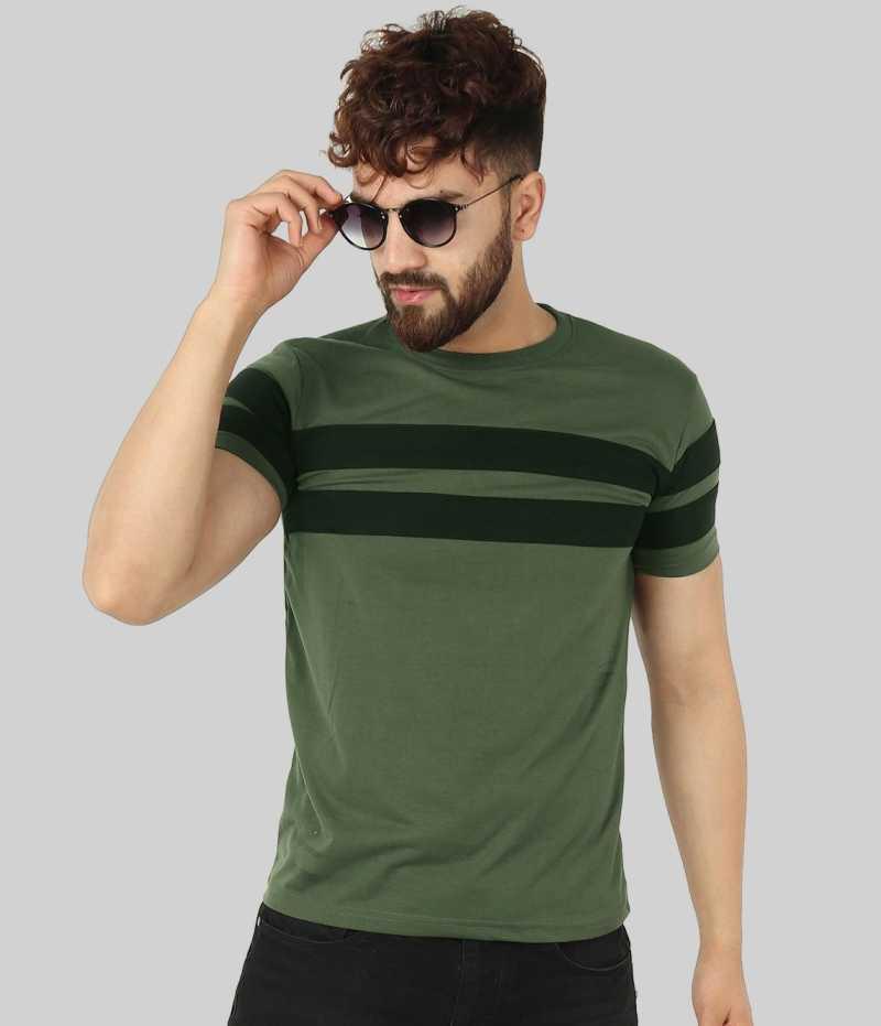 Striped Men Round Neck Green T-Shirt