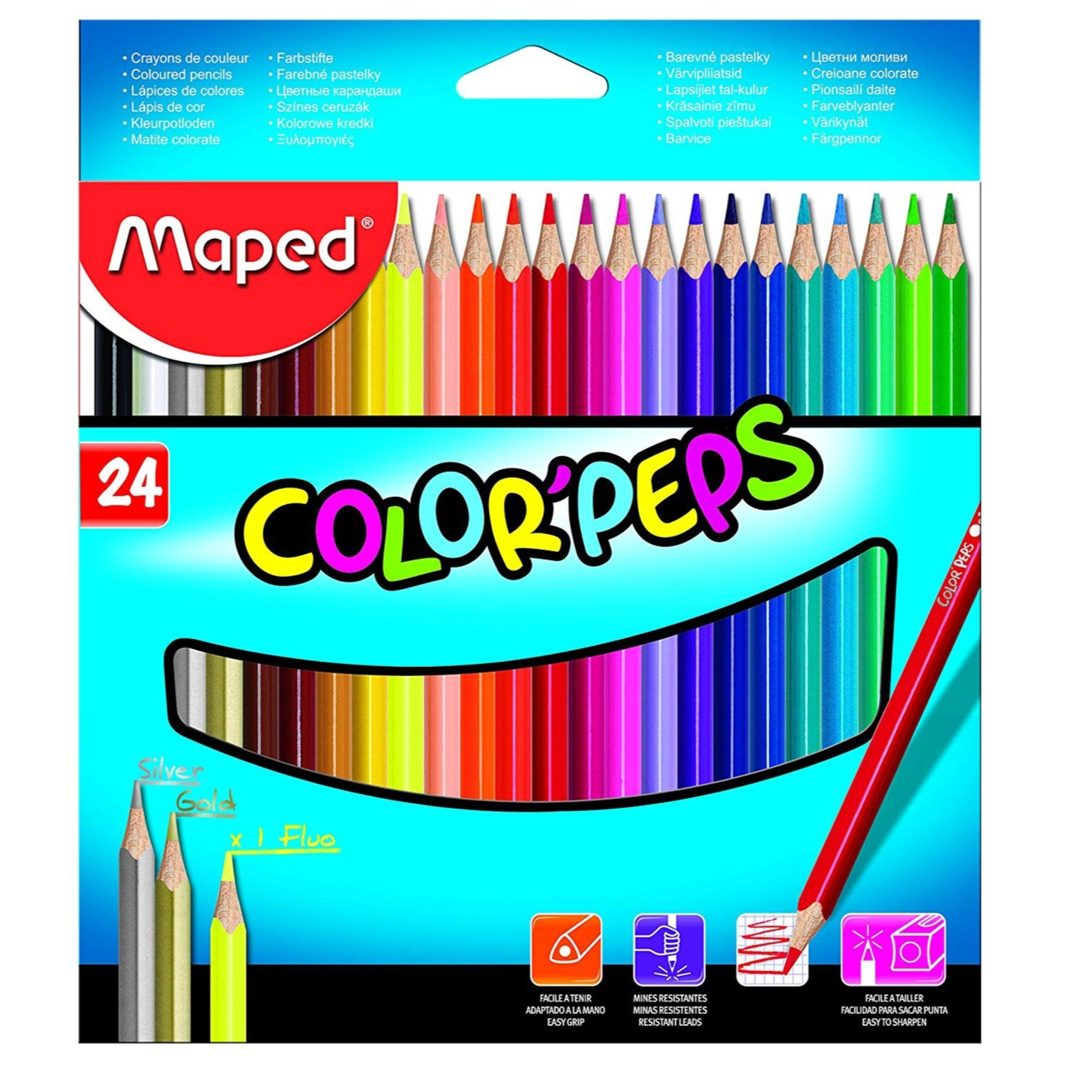 Maped Color Pencil Box - Pack of 24 Silver, Gold, Fluo (Multicolor)