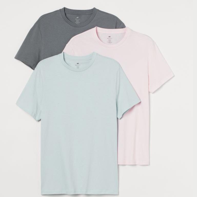 3-pack Regular Fit T-shirts - Light pink/Light blue/Grey - Men | H&M IN
