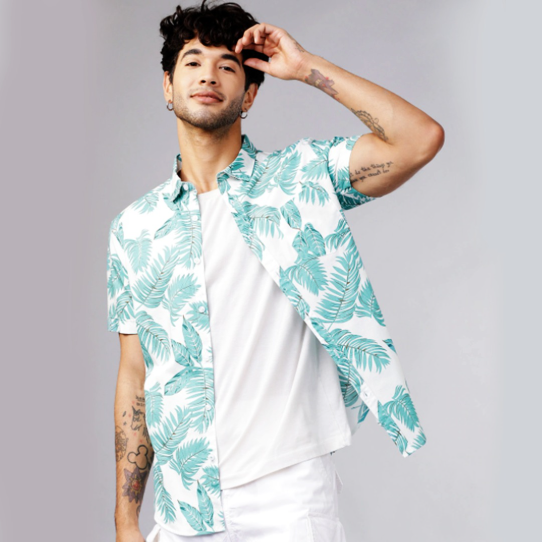 HIGHLANDER Men Green & White Slim Fit Printed Casual Shirt
