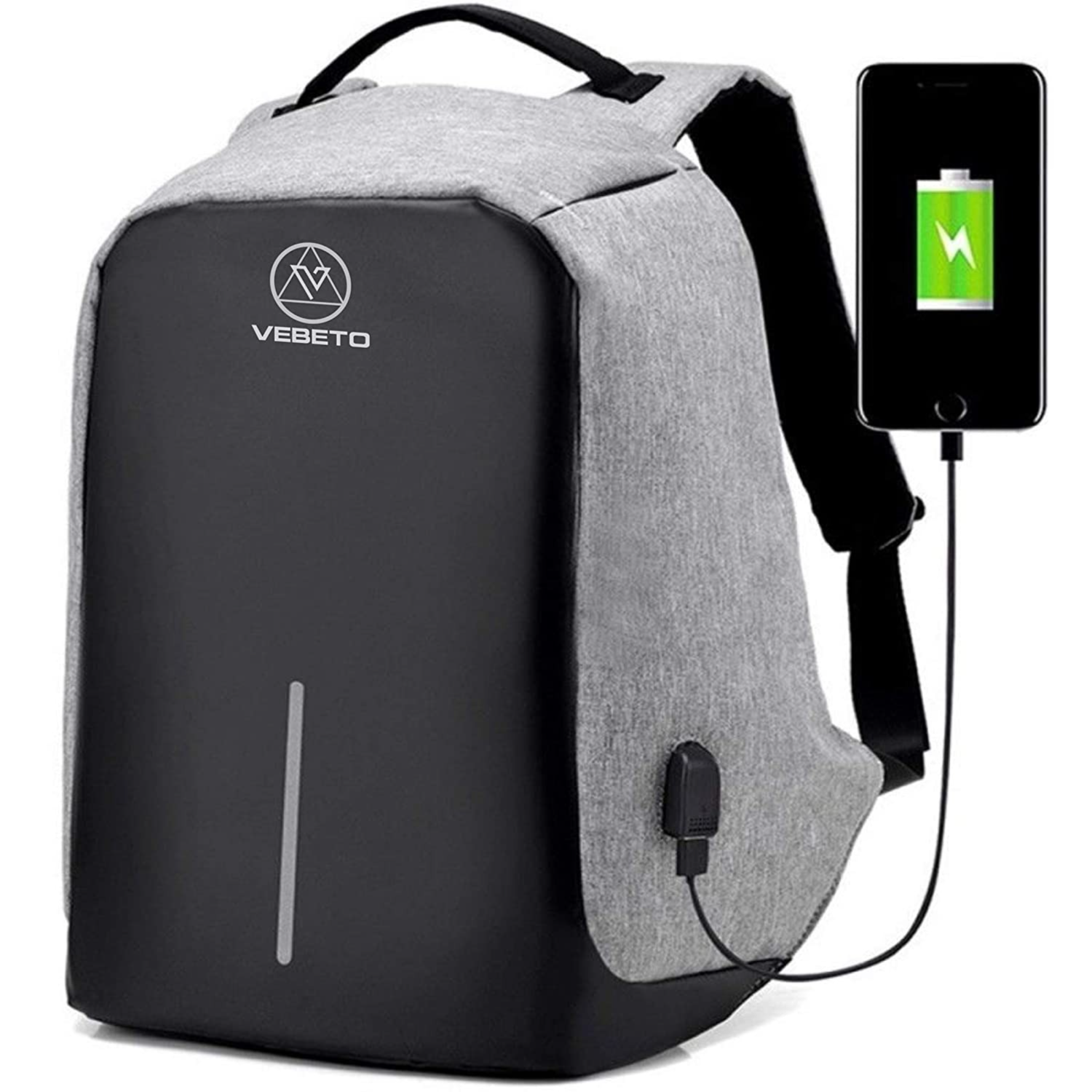 Vebeto Anti Theft Backpack 15.6 Inch Laptop Bagpack USB Charge Port Waterproof Casual College Office Bag Men Fashion (Grey) : Amazon.in: Bags, Wallets and Luggage