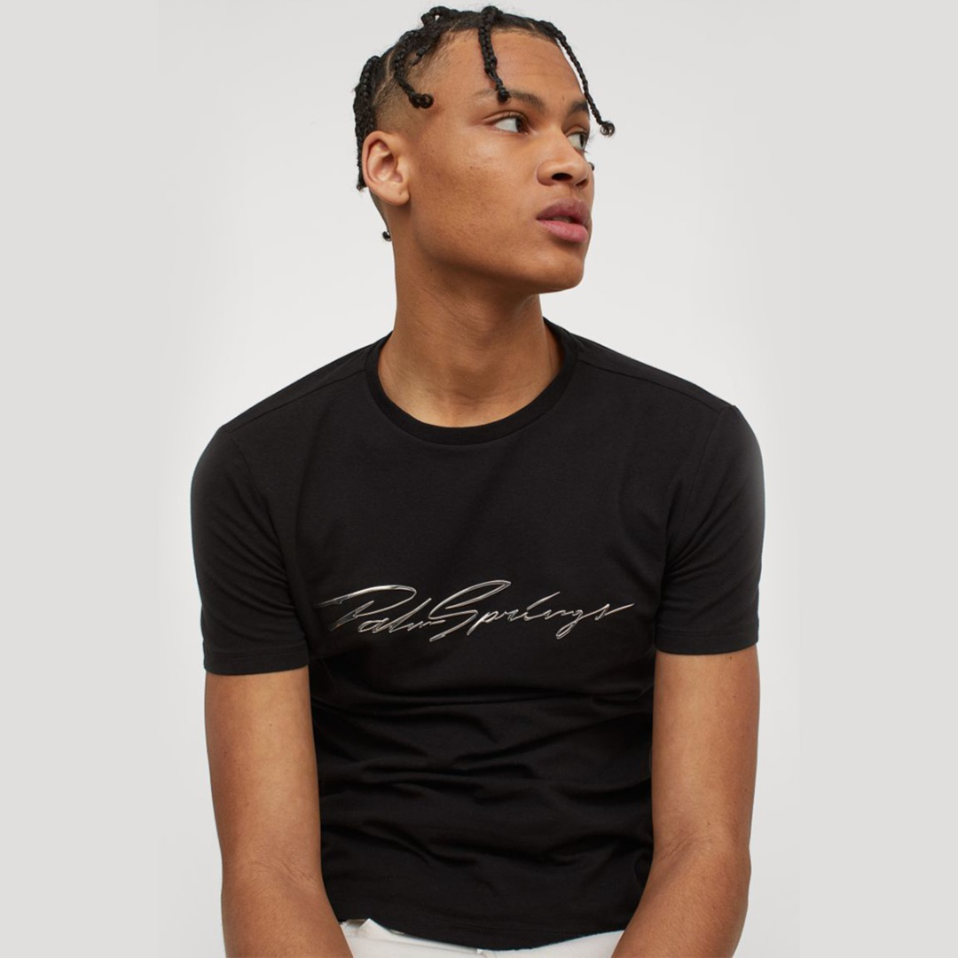 Muscle Fit T-shirt - Black/Palm Springs - Men | H&M IN